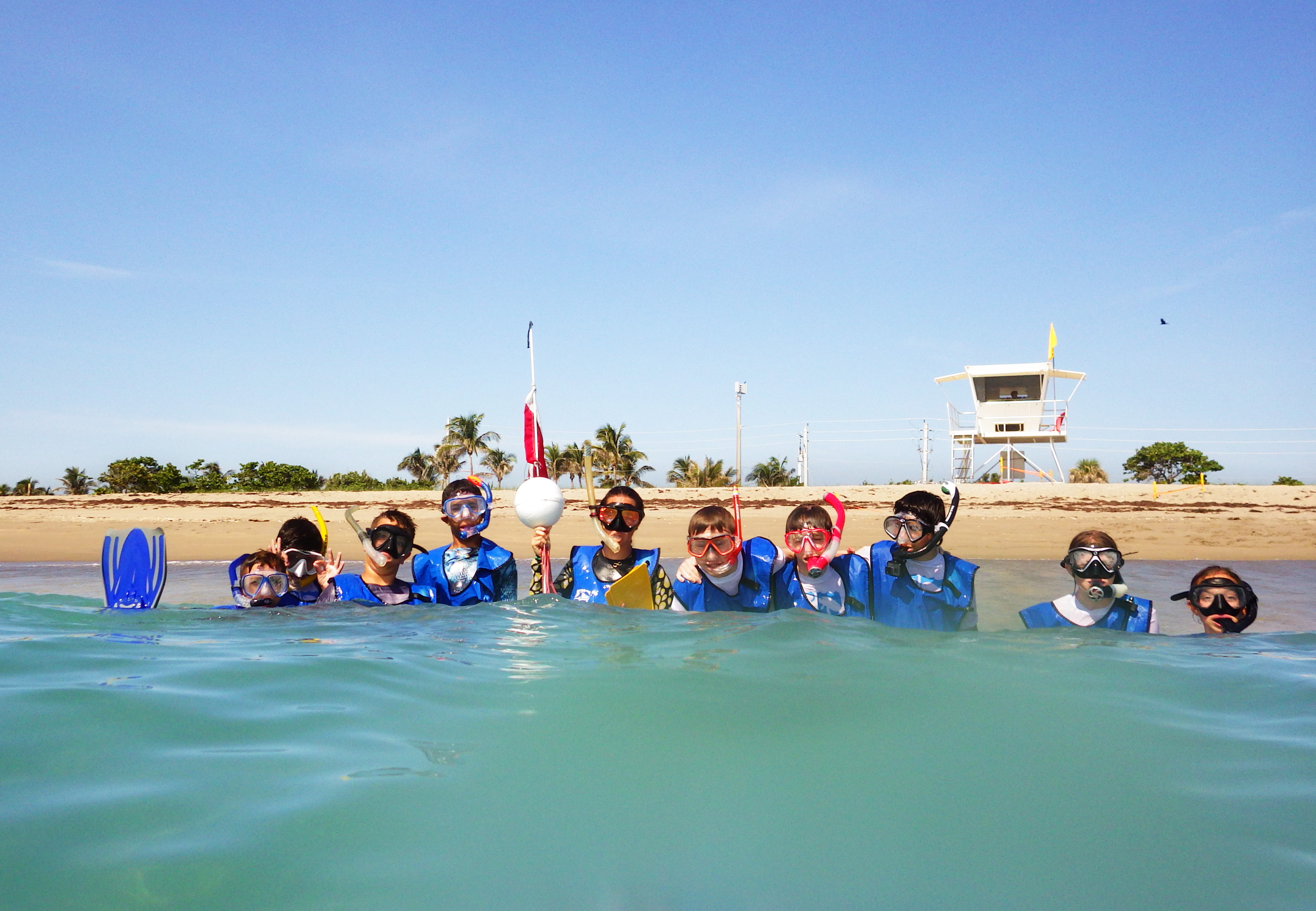 summer campers at the beach