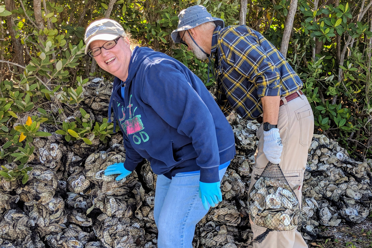 Volunteers stacking bags of oyster shells